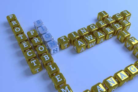 Sign, business keyword crossword. Graphic resource, texture or background, for web page or design. 3D rendering. Reklamní fotografie - 123537675
