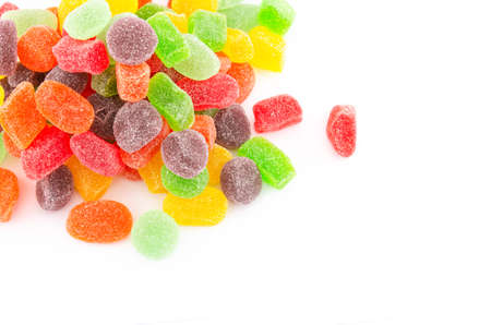 Bunch or pile of colorful jelly candy or sweets, background isolation on white. Good for health conceptual. Reklamní fotografie - 124371050