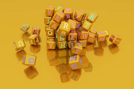 Abstract symbol or sign bunch of ABC character, typography, for web page, graphic design, texture, background. 3D render. Reklamní fotografie - 124371540