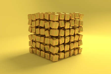 Finance currency sign, cube or block, business. For graphic design, catalog, texture or background. 3D render. Reklamní fotografie - 124371595