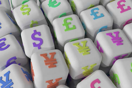 Finance currency sign, cube or block, business. For graphic design, catalog, texture or background. 3D render.
