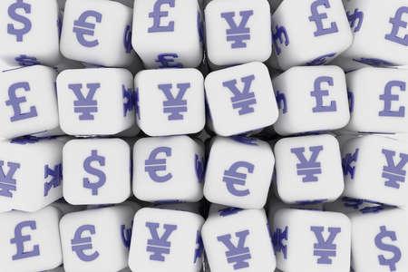 Business, finance currency sign, cube or block. For illustrations design, texture or background. 3D render. Reklamní fotografie
