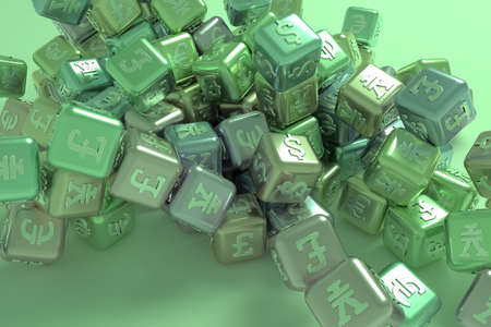Business, bunch of cube or block finance currency sign, for design texture or title background. 3D render.