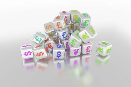 Finance currency sign, bunch of cube or block, business. For graphic design, catalog, texture or background. 3D render. Reklamní fotografie - 124371674
