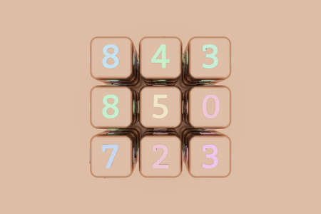 Cube or block number sign or symbol, for design texture or title background. 3D render.