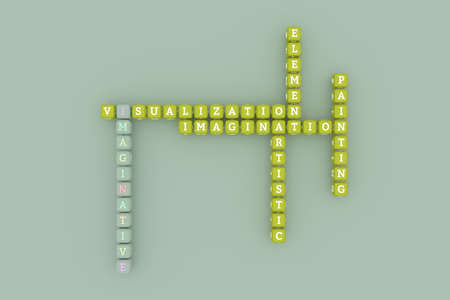 Imaginative, creative keyword crossword. For web page or design, as graphic resource, texture or background. 3D rendering. Imagens