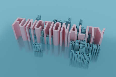 Functionality, ICT, information technology keyword words cloud. For web page or design, as graphic resource, texture or background. 3D rendering.