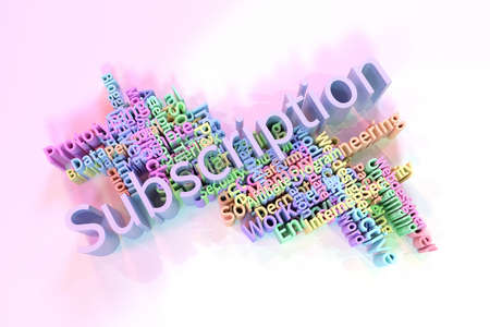 Subscription, ICT, information technology keyword words cloud. For web page or design, as graphic resource, texture or background. 3D rendering.