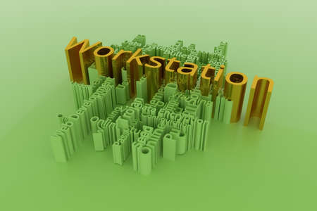 Workstation, ICT, information technology keyword words cloud. For web page or design, as graphic resource, texture or background. 3D rendering.