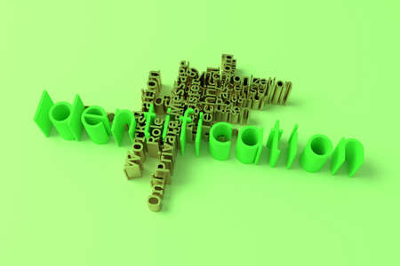 Identification, ICT, information technology keyword words cloud. For web page or design, as graphic resource, texture or background. 3D rendering. Фото со стока