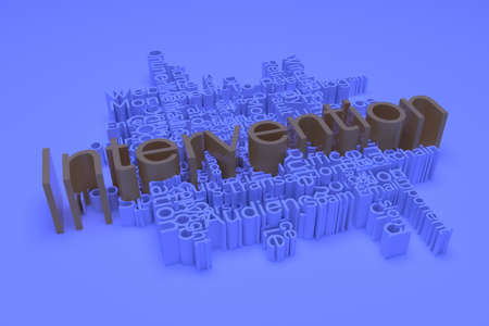 Intervention, ICT, information technology keyword words cloud. For web page or design, as graphic resource, texture or background. 3D rendering.