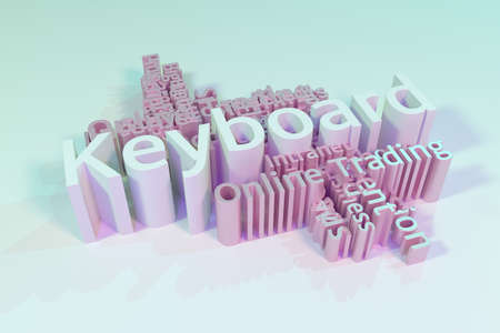 Keyboard, ICT, information technology keyword words cloud. For web page or design, as graphic resource, texture or background. 3D rendering. Фото со стока