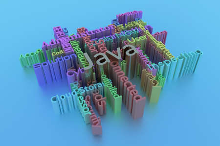 Java, ICT, information technology keyword words cloud. For web page or design, as graphic resource, texture or background. 3D rendering.