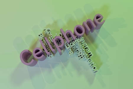 Cellphone, ICT, information technology keyword words cloud. For web page or design, as graphic resource, texture or background. 3D rendering.