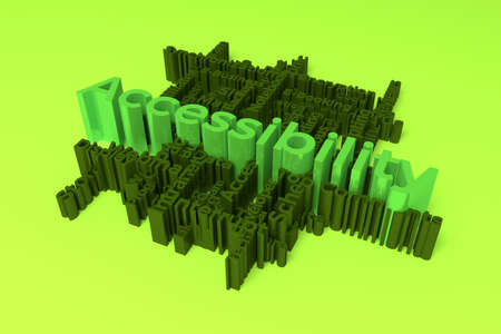 Accessibility, ICT, information technology keyword words cloud. For web page or design, as graphic resource, texture or background. 3D rendering.