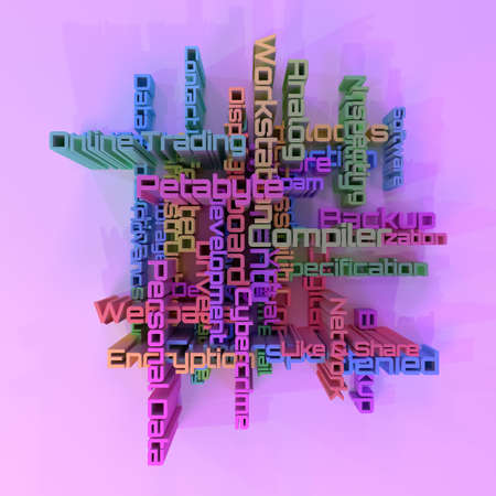 ICT, information technology keyword words cloud. For web page or design, as graphic resource, texture or background. 3D rendering.