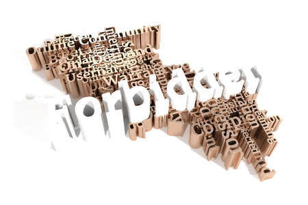 Forbidden, ICT, information technology keyword words cloud. For web page or design, as graphic resource, texture or background. 3D rendering.