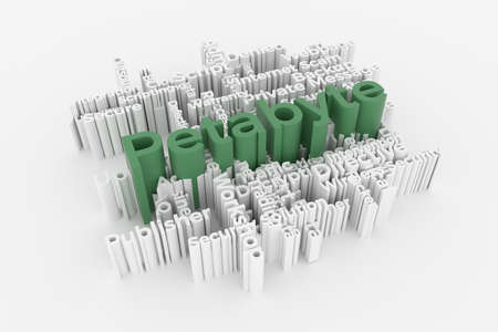 Petabyte, ICT, information technology keyword words cloud. For web page or design, as graphic resource, texture or background. 3D rendering.