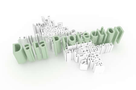 Data Protection, ICT, information technology keyword words cloud. For web page or design, as graphic resource, texture or background. 3D rendering.