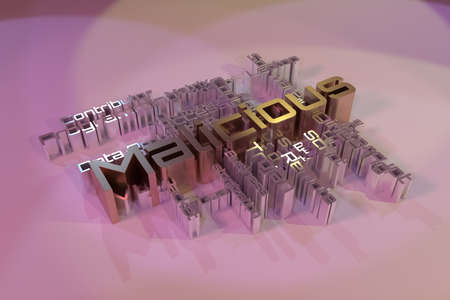 Malicious, ICT, information technology keyword words cloud. For web page or design, as graphic resource, texture or background. 3D rendering.