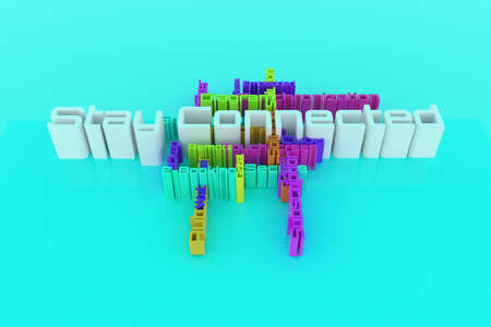 Stay Connected, ICT, information technology keyword words cloud. For web page or design, as graphic resource, texture or background. 3D rendering.