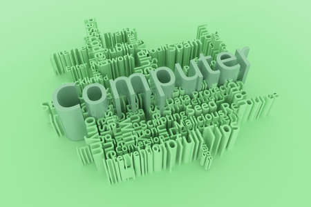 Computer, ICT, information technology keyword words cloud. For web page or design, as graphic resource, texture or background. 3D rendering. Фото со стока