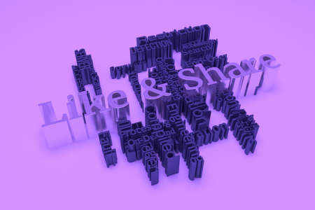Like and Share, ICT, information technology keyword words cloud. For web page or design, as graphic resource, texture or background. 3D rendering.