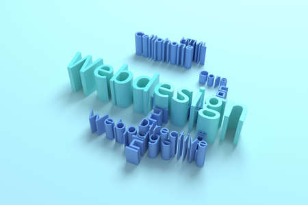 Webdesign, ICT, information technology keyword words cloud. For web page or design, as graphic resource, texture or background. 3D rendering.