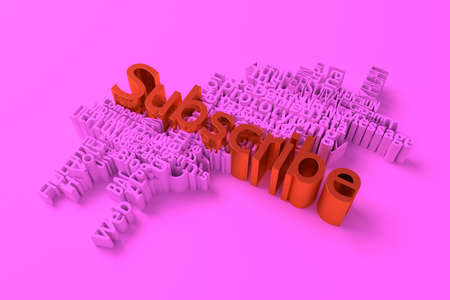 Subscribe, ICT, information technology keyword words cloud. For web page or design, as graphic resource, texture or background. 3D rendering.