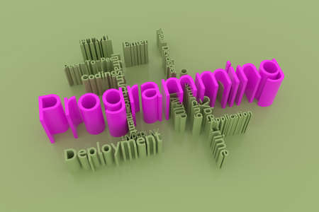 Programming, ICT, information technology keyword words cloud. For web page or design, as graphic resource, texture or background. 3D rendering.