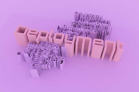Deployment, ICT, information technology keyword words cloud. For web page or design, as graphic resource, texture or background. 3D rendering.