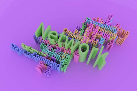 Network, ICT, information technology keyword words cloud. For web page or design, as graphic resource, texture or background. 3D rendering.