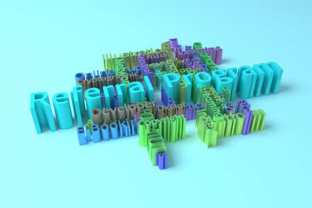 Referral Program, ICT, information technology keyword words cloud. For web page or design, as graphic resource, texture or background. 3D rendering.