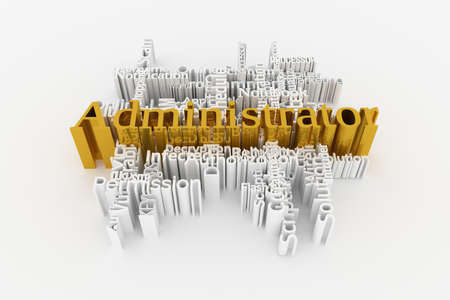 Administrator, ICT, information technology keyword words cloud. For web page or design, as graphic resource, texture or background. 3D rendering.