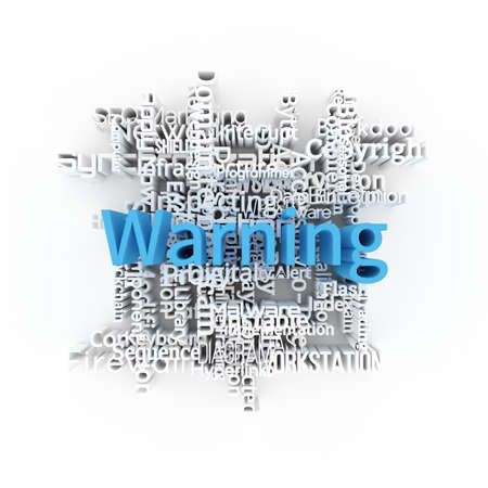 Warning, ICT, information technology keyword words cloud. For web page or design, as graphic resource, texture or background. 3D rendering.