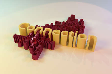Connection, ICT, information technology keyword words cloud. For web page or design, as graphic resource, texture or background. 3D rendering.