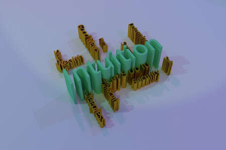 Intuition, motivation, keyword words cloud. As graphic resource, texture or background. 3D rendering.