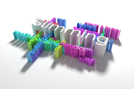 Slimming, health, lifestyle keyword words cloud. As graphic resource, texture or background. 3D rendering. 스톡 콘텐츠