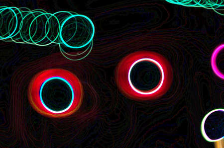Colorful neon wave & line abstract art for graphic resource, design background or texture.