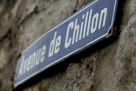 count of monte cristo: Chillon, Switzerland Road Sign
