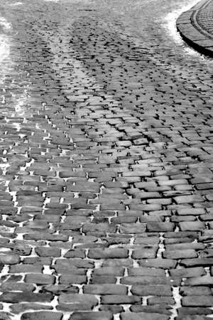 Winter Cobble Stone Street Prague Banco de Imagens