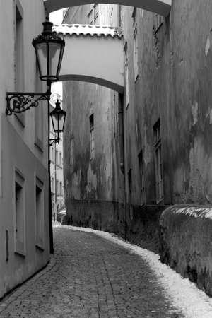 Black and White Quiet Street in Prague Banco de Imagens