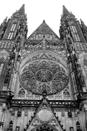 Black and White Church in Prague Banco de Imagens