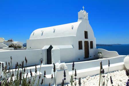 Santorini Landscape, Small Church in Oia city - Greece Stock Photo