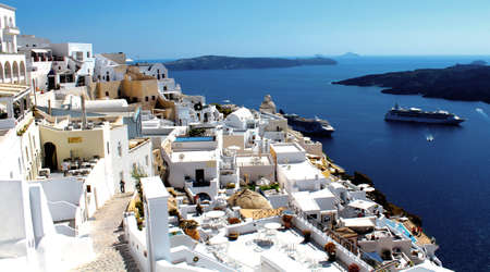 Santorini Landscape, Amazingl Panoramic view of Oia city - Greece