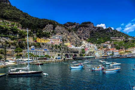 Amalfi Coast Landscape - Colourful Panoramic View of Amalfi City - Italy