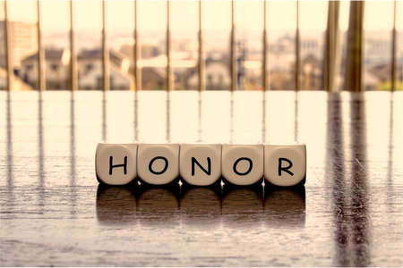 "State of mind concept with letters forming word ""honor"""