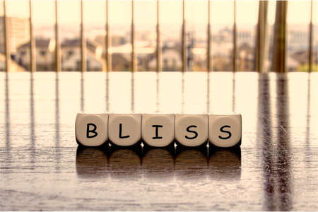 "State of mind concept with letters forming word ""bliss"""