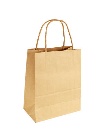Brown Shopping Bag with Handles Isolated on White Background