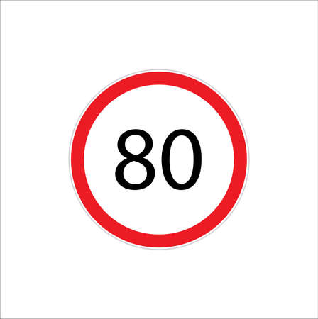 Speed limit sign number eighty 80 vector illustration.